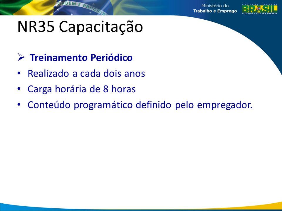 NR35 Capacitação Treinamento Periódico Realizado a cada dois anos
