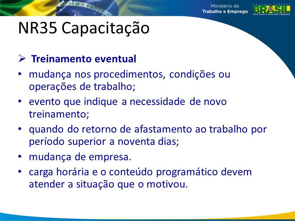 NR35 Capacitação Treinamento eventual