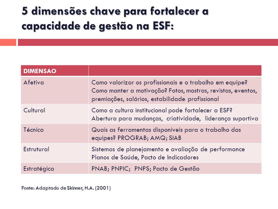 5 dimensões chave para fortalecer a capacidade de gestão na ESF: