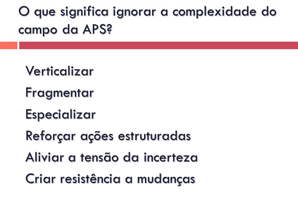 O que significa ignorar a complexidade do campo da APS