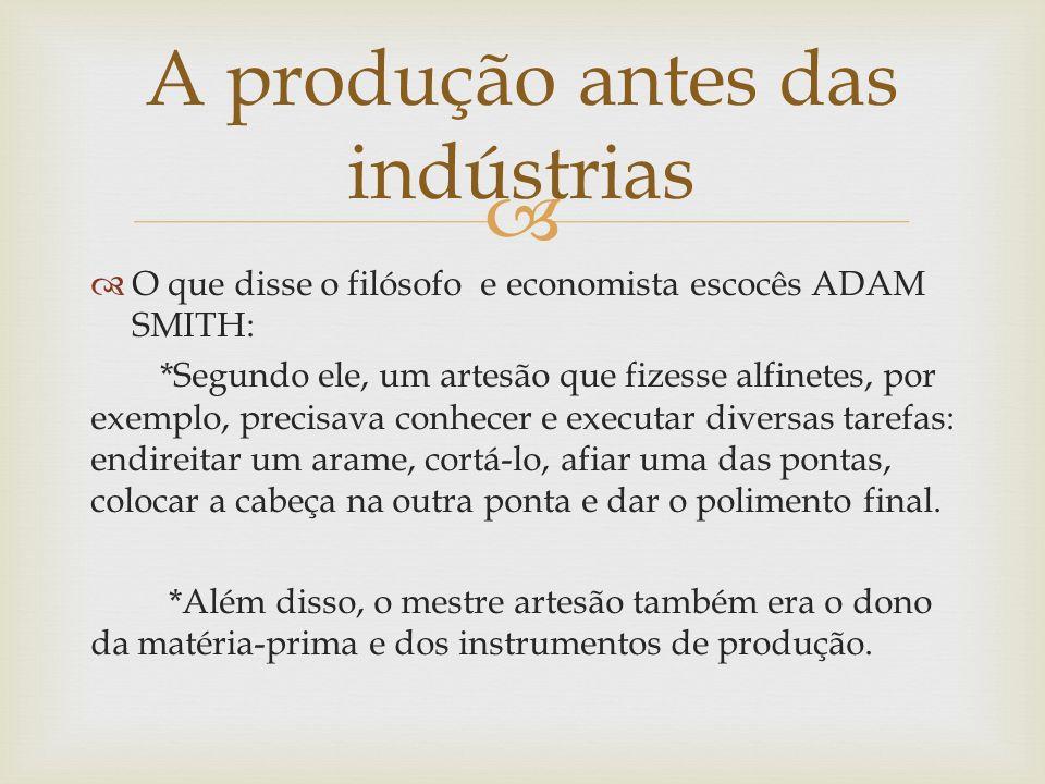 A produção antes das indústrias