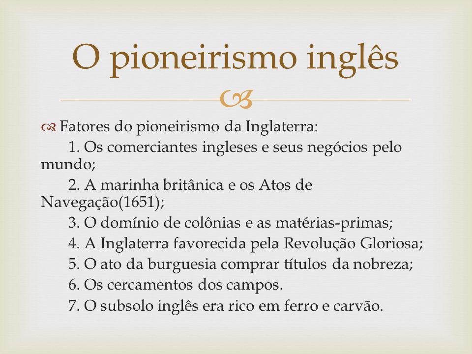 O pioneirismo inglês Fatores do pioneirismo da Inglaterra: