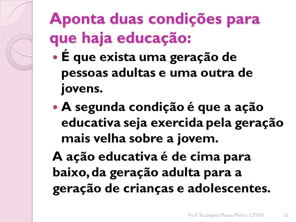 Aponta duas condições para que haja educação: