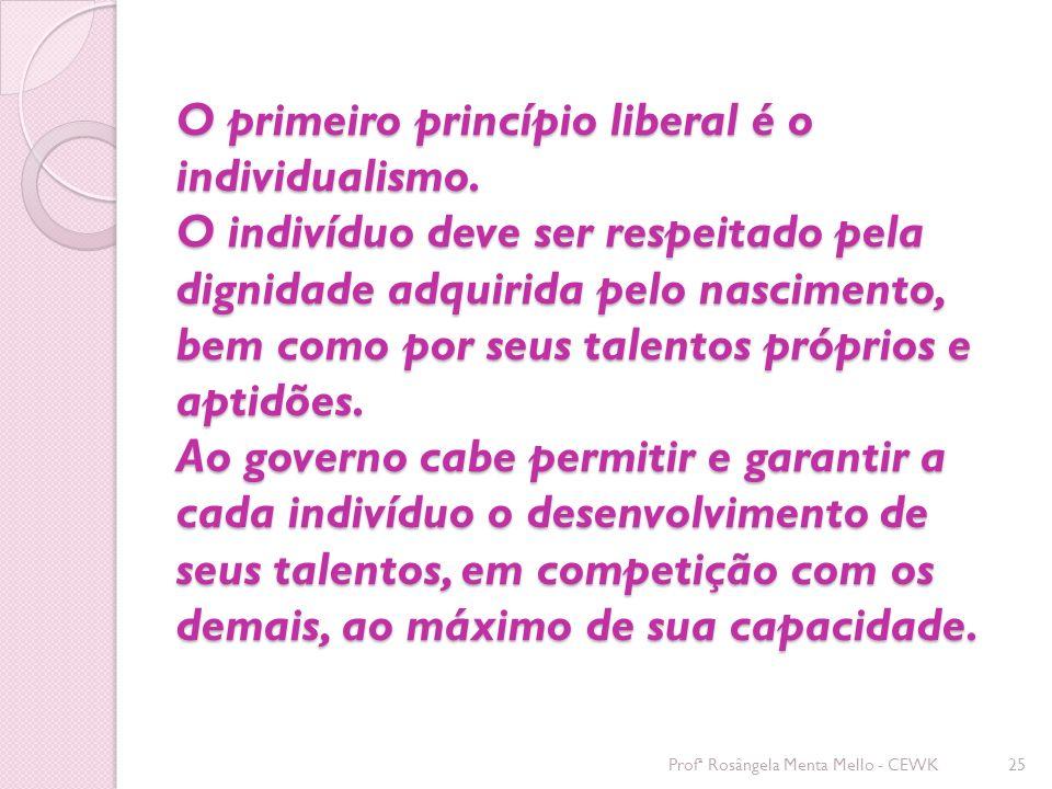O primeiro princípio liberal é o individualismo