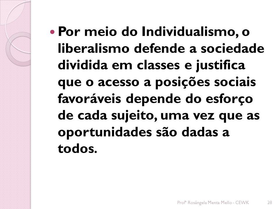 Por meio do Individualismo, o liberalismo defende a sociedade dividida em classes e justifica que o acesso a posições sociais favoráveis depende do esforço de cada sujeito, uma vez que as oportunidades são dadas a todos.