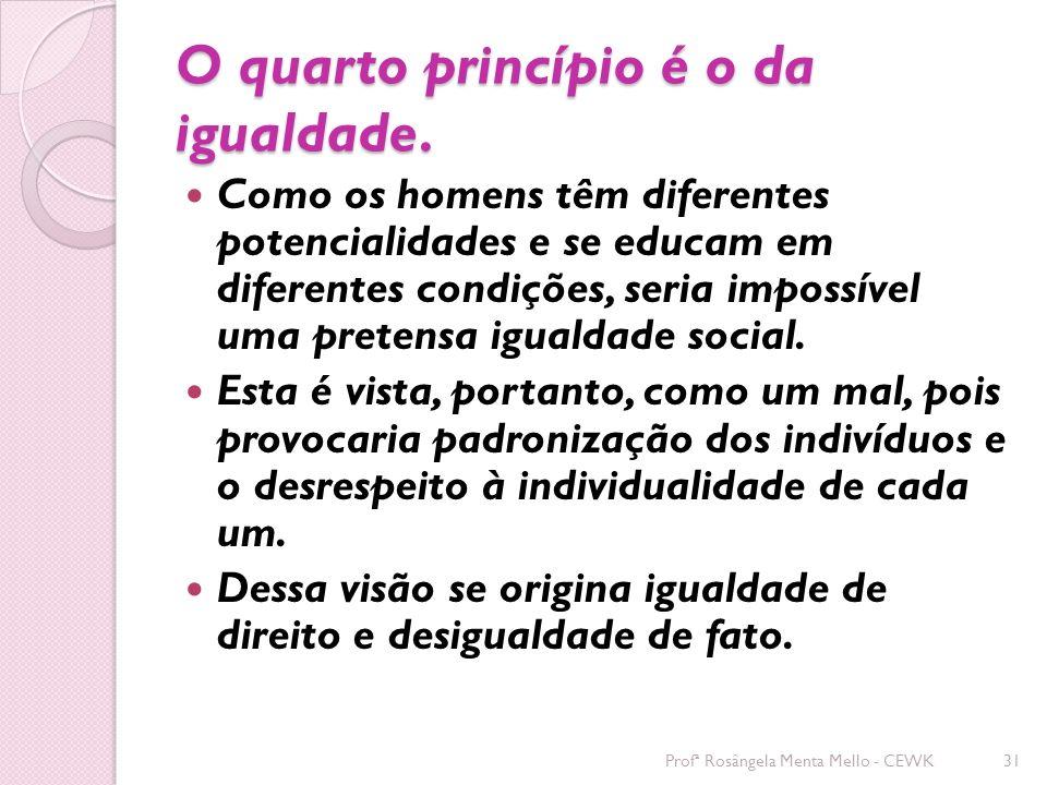 O quarto princípio é o da igualdade.