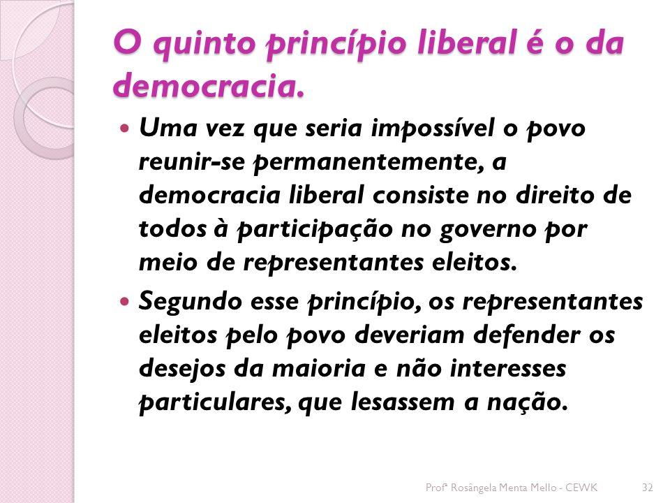 O quinto princípio liberal é o da democracia.