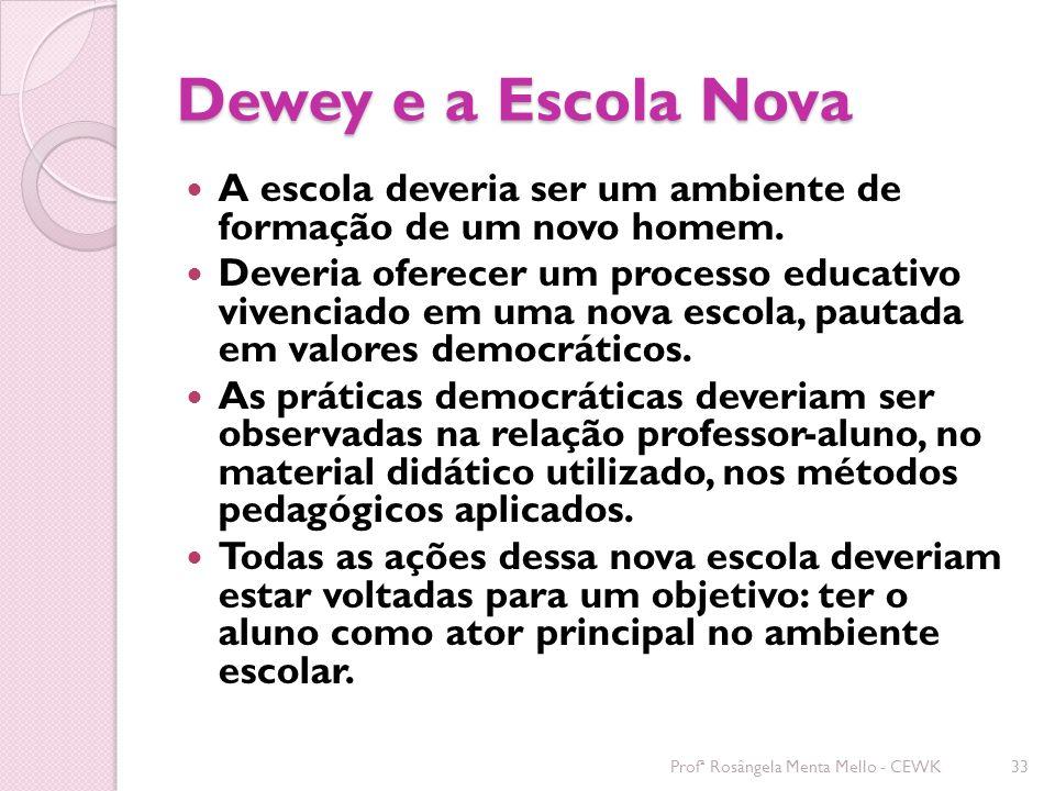 Dewey e a Escola Nova A escola deveria ser um ambiente de formação de um novo homem.