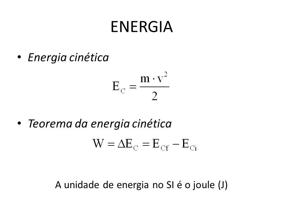 A unidade de energia no SI é o joule (J)