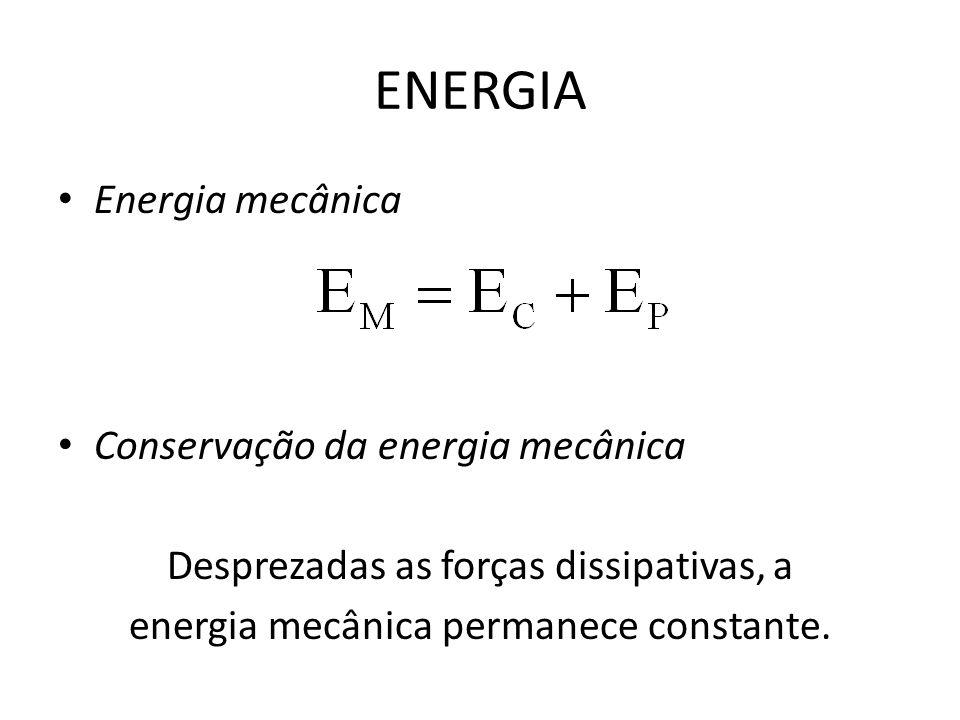 ENERGIA Energia mecânica Conservação da energia mecânica