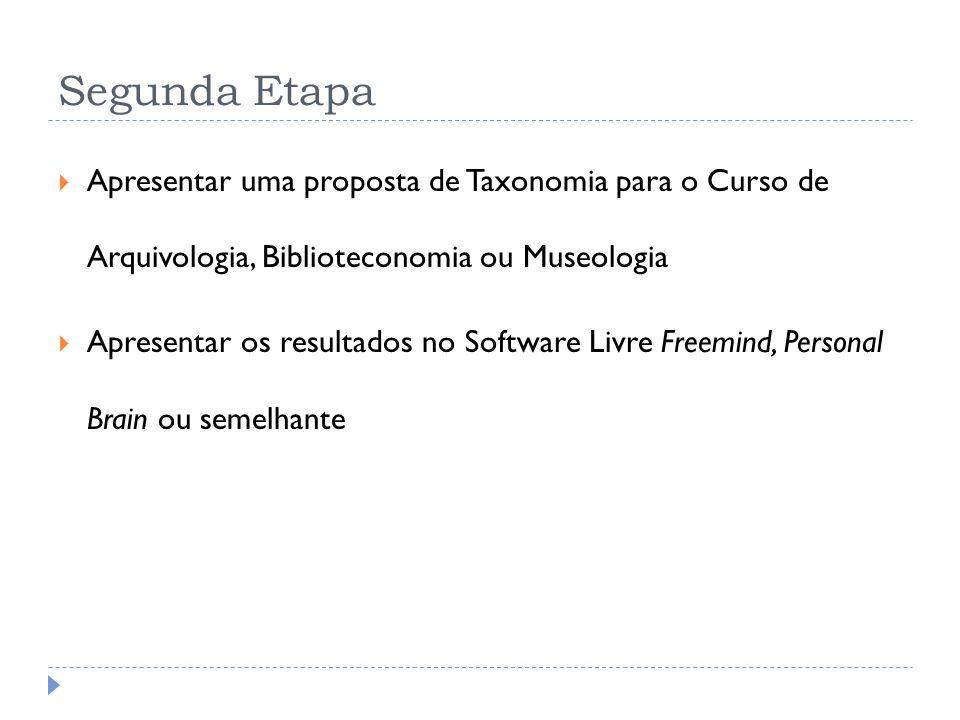Segunda EtapaApresentar uma proposta de Taxonomia para o Curso de Arquivologia, Biblioteconomia ou Museologia.