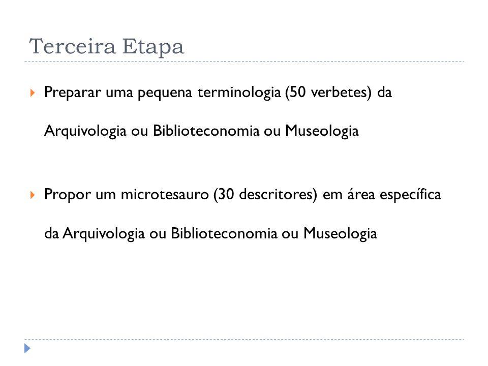 Terceira Etapa Preparar uma pequena terminologia (50 verbetes) da Arquivologia ou Biblioteconomia ou Museologia.