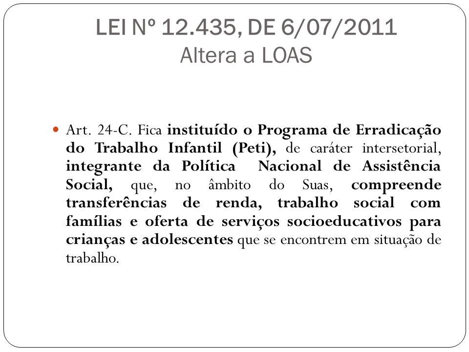 LEI Nº 12.435, DE 6/07/2011 Altera a LOAS