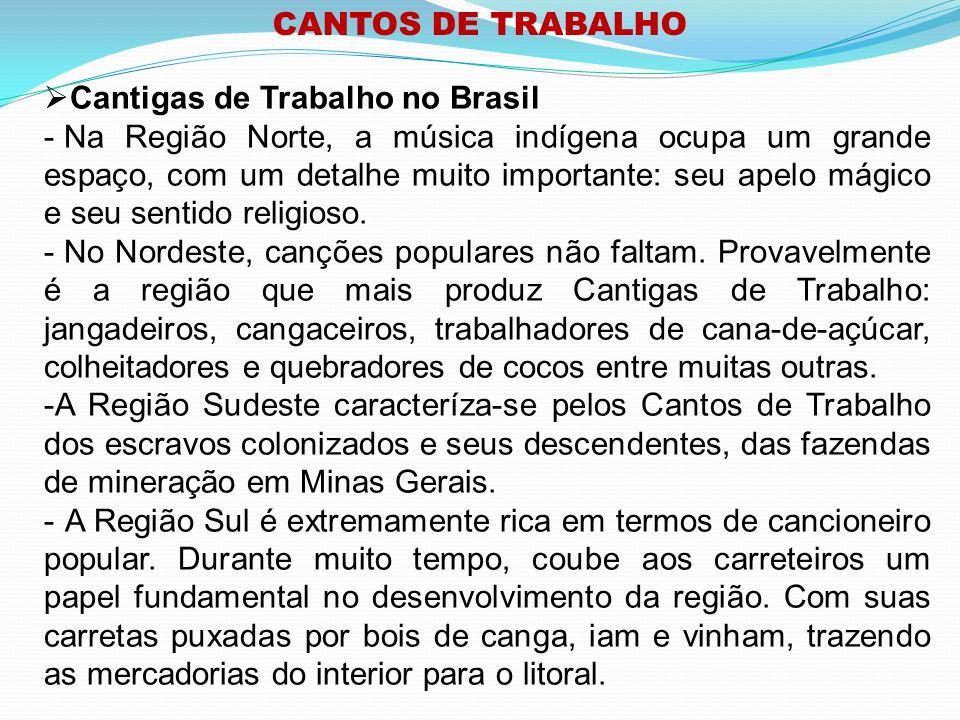 CANTOS DE TRABALHO Cantigas de Trabalho no Brasil.