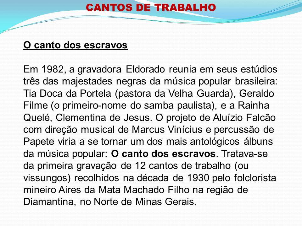 CANTOS DE TRABALHO O canto dos escravos.