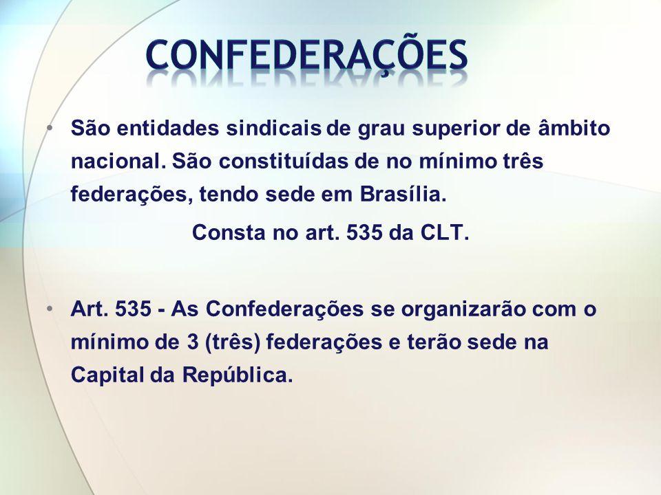 Confederações São entidades sindicais de grau superior de âmbito nacional. São constituídas de no mínimo três federações, tendo sede em Brasília.