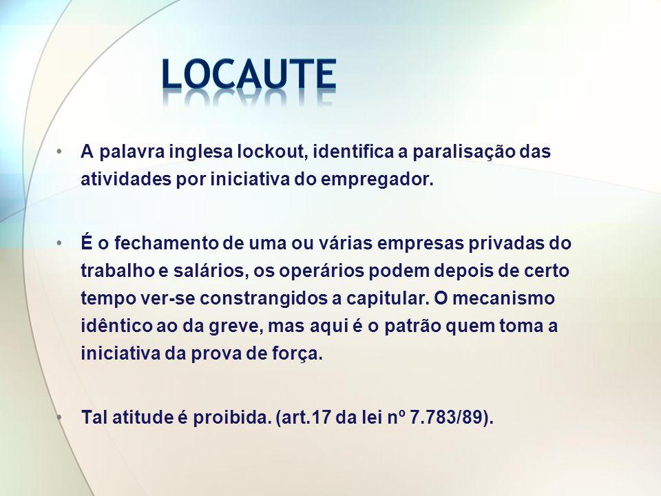 Locaute A palavra inglesa lockout, identifica a paralisação das atividades por iniciativa do empregador.