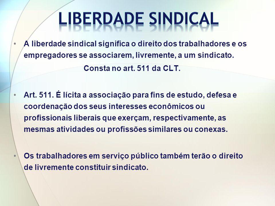 Liberdade Sindical A liberdade sindical significa o direito dos trabalhadores e os empregadores se associarem, livremente, a um sindicato.