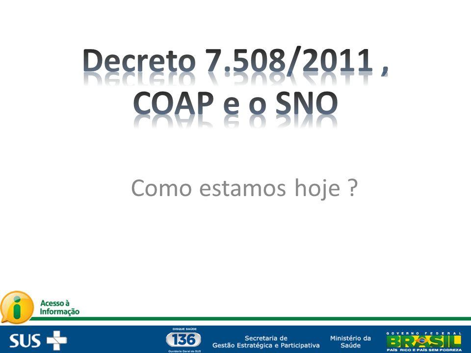 Decreto 7.508/2011 , COAP e o SNO Como estamos hoje
