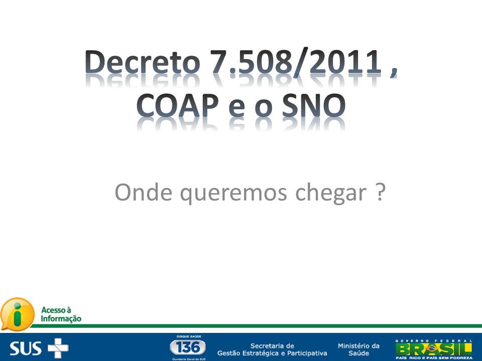 Decreto 7.508/2011 , COAP e o SNO Onde queremos chegar