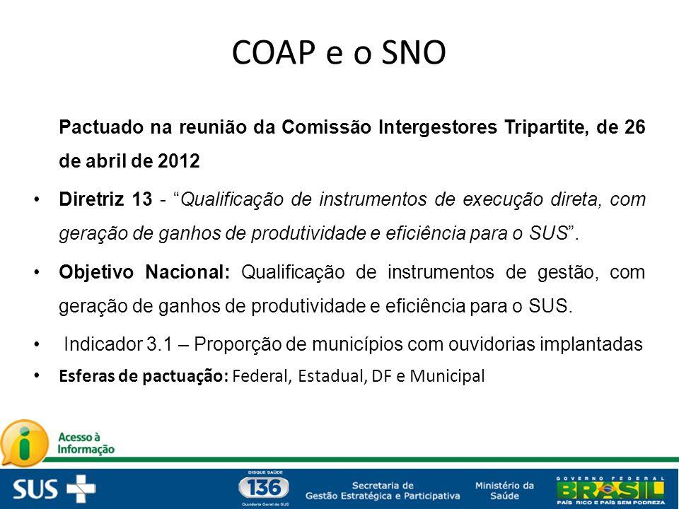 COAP e o SNO Pactuado na reunião da Comissão Intergestores Tripartite, de 26 de abril de 2012
