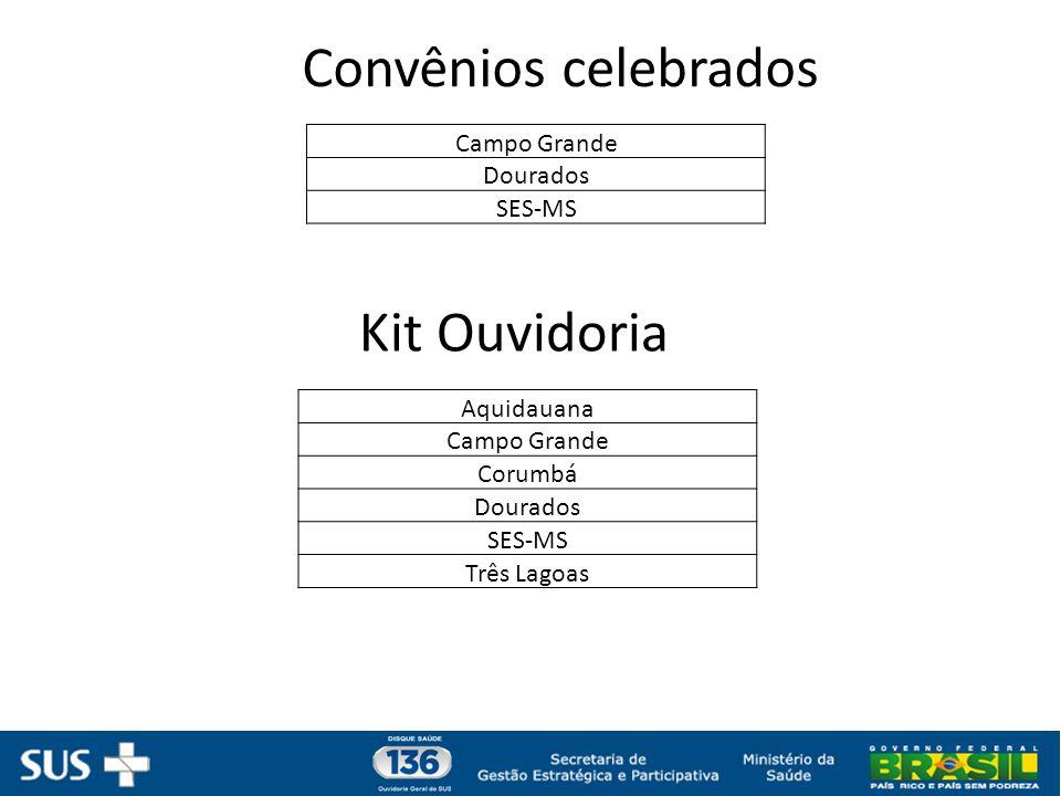 Convênios celebrados Kit Ouvidoria Campo Grande Dourados SES-MS
