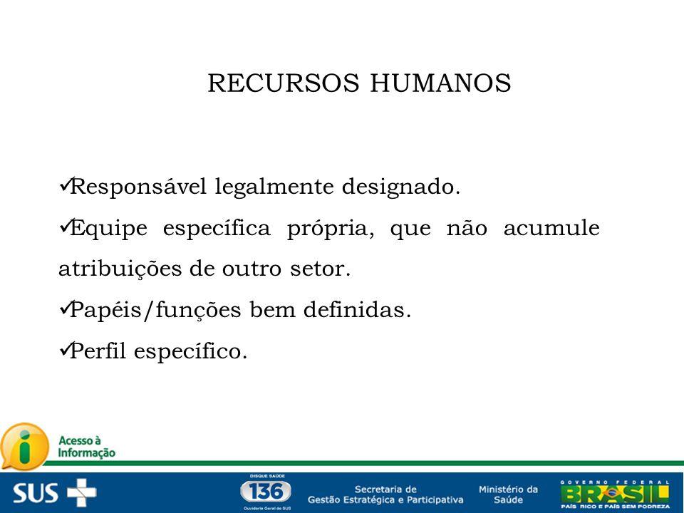 RECURSOS HUMANOS Responsável legalmente designado.