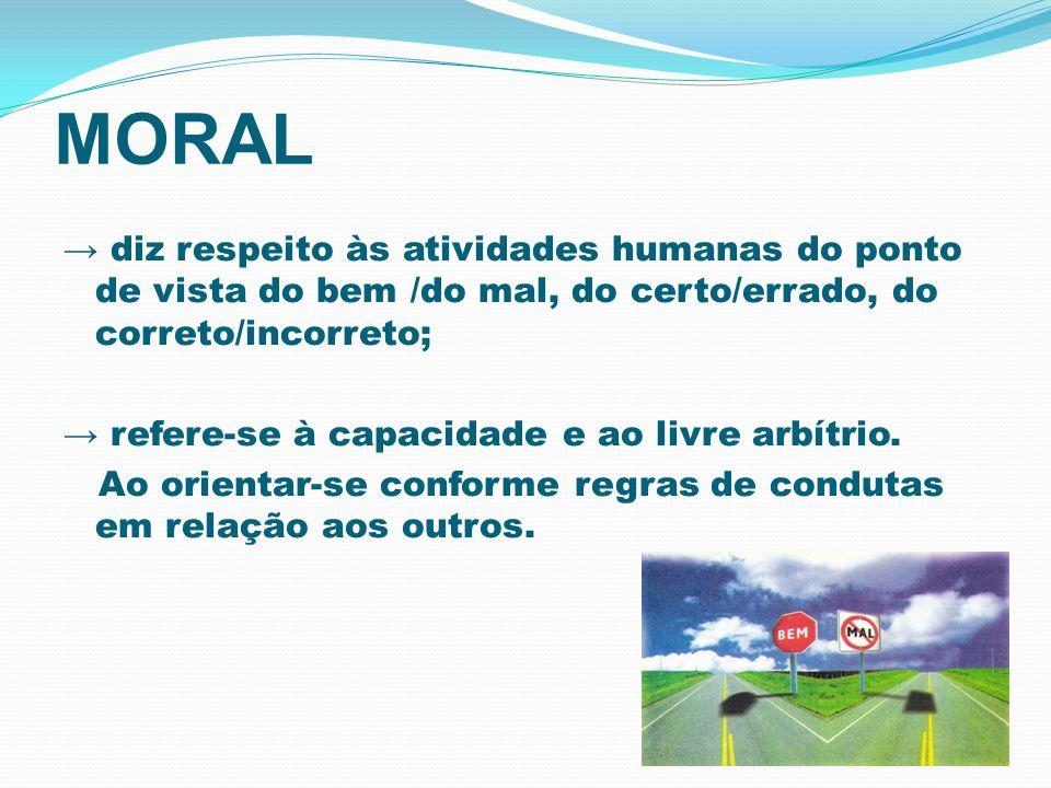 MORAL → diz respeito às atividades humanas do ponto de vista do bem /do mal, do certo/errado, do correto/incorreto;