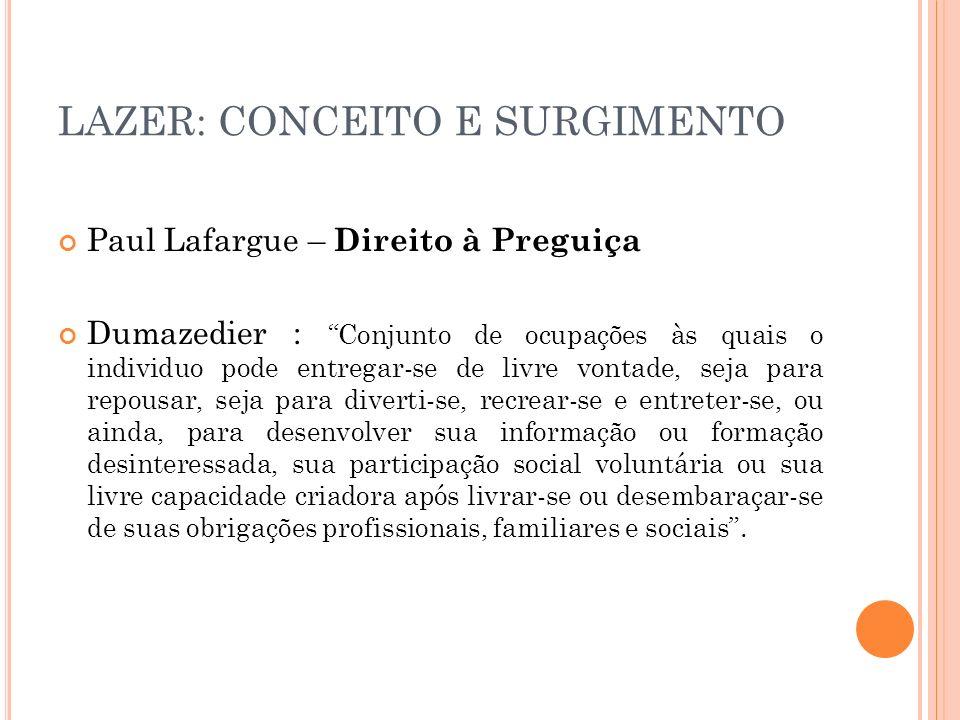 LAZER: CONCEITO E SURGIMENTO