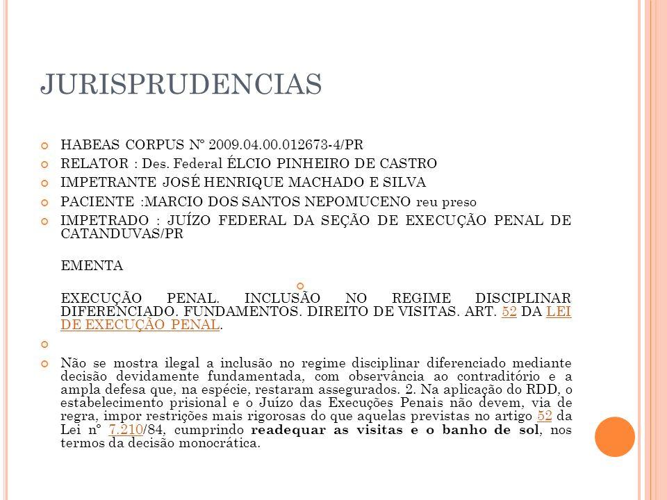 JURISPRUDENCIAS HABEAS CORPUS Nº 2009.04.00.012673-4/PR