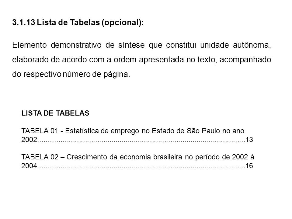 3.1.13 Lista de Tabelas (opcional):