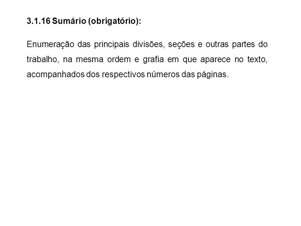 3.1.16 Sumário (obrigatório):