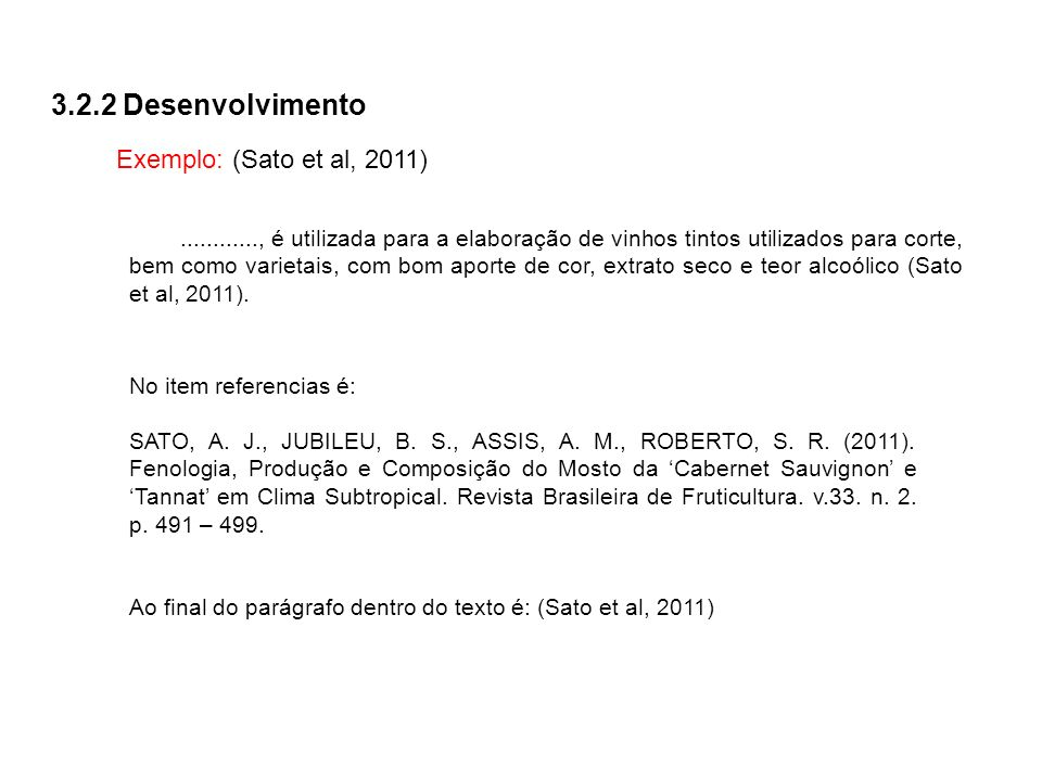 3.2.2 Desenvolvimento Exemplo: (Sato et al, 2011)