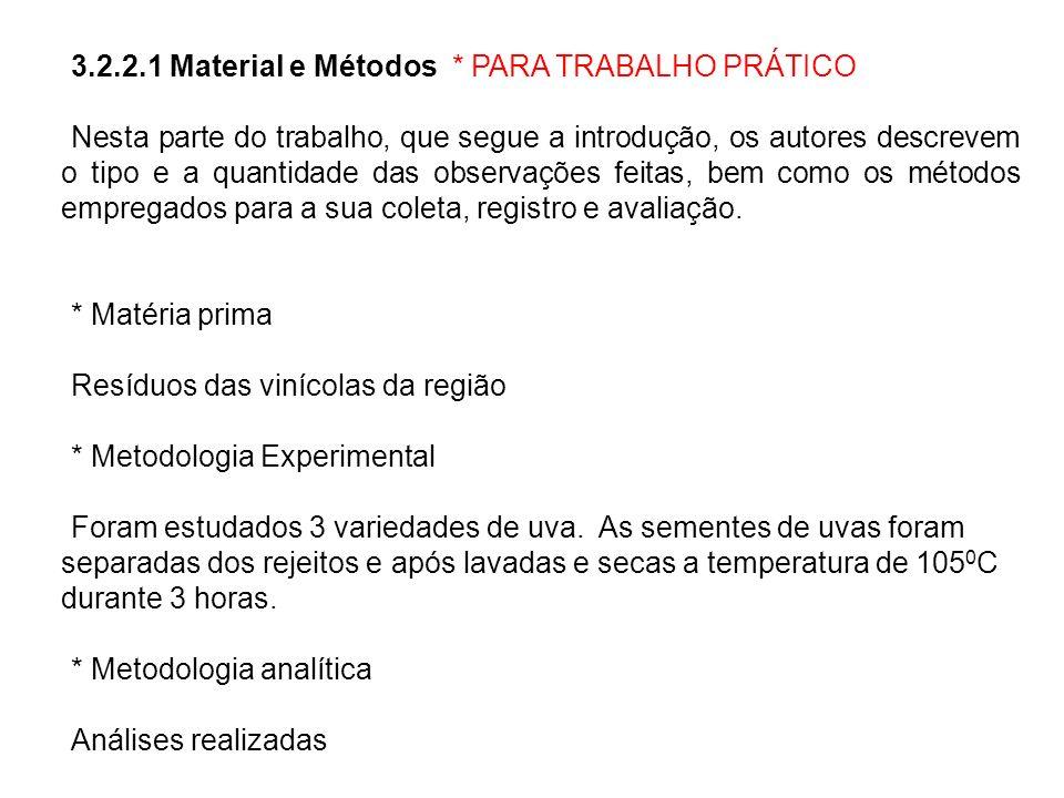 3.2.2.1 Material e Métodos * PARA TRABALHO PRÁTICO