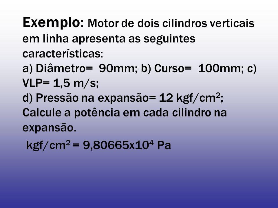 Exemplo: Motor de dois cilindros verticais em linha apresenta as seguintes características: a) Diâmetro= 90mm; b) Curso= 100mm; c) VLP= 1,5 m/s; d) Pressão na expansão= 12 kgf/cm2; Calcule a potência em cada cilindro na expansão.