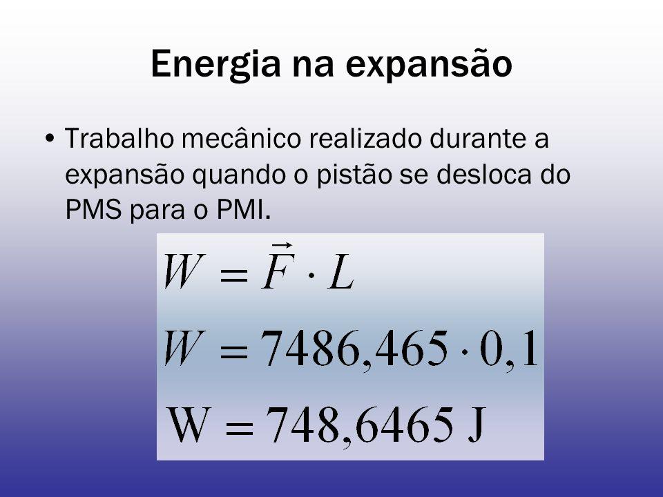 Energia na expansão Trabalho mecânico realizado durante a expansão quando o pistão se desloca do PMS para o PMI.