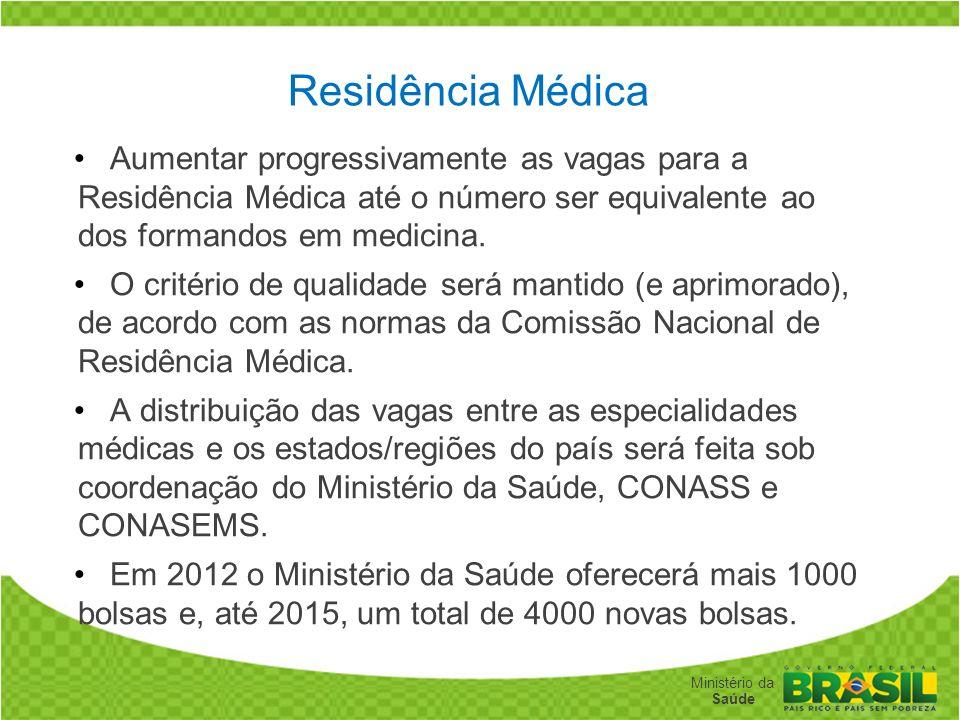 Residência Médica Aumentar progressivamente as vagas para a Residência Médica até o número ser equivalente ao dos formandos em medicina.