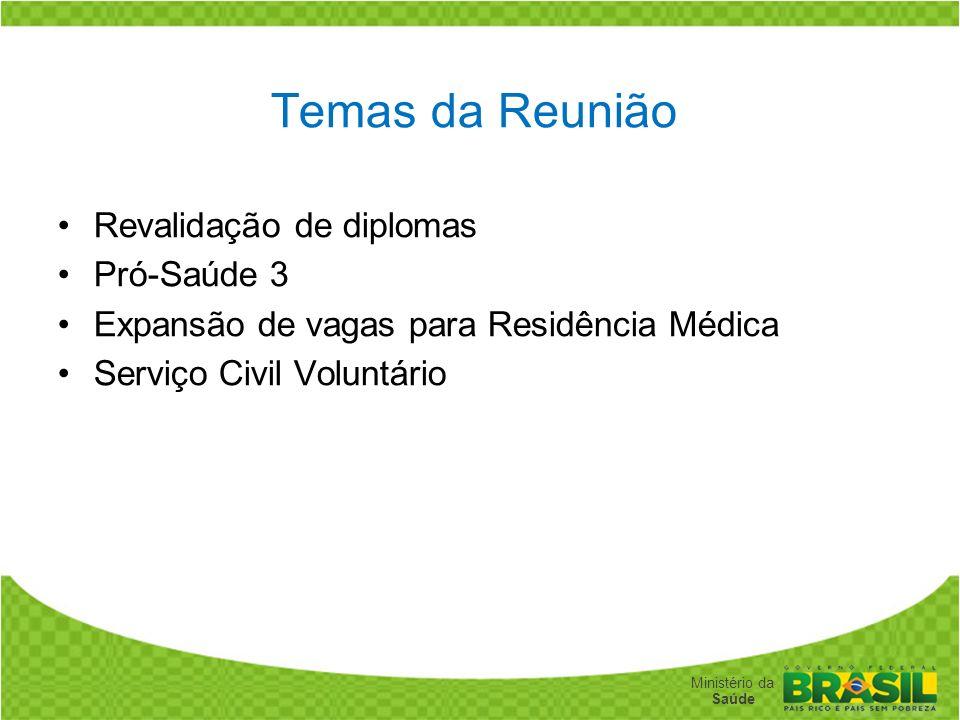 Temas da Reunião Revalidação de diplomas Pró-Saúde 3