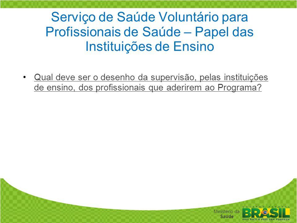 Serviço de Saúde Voluntário para Profissionais de Saúde – Papel das Instituições de Ensino