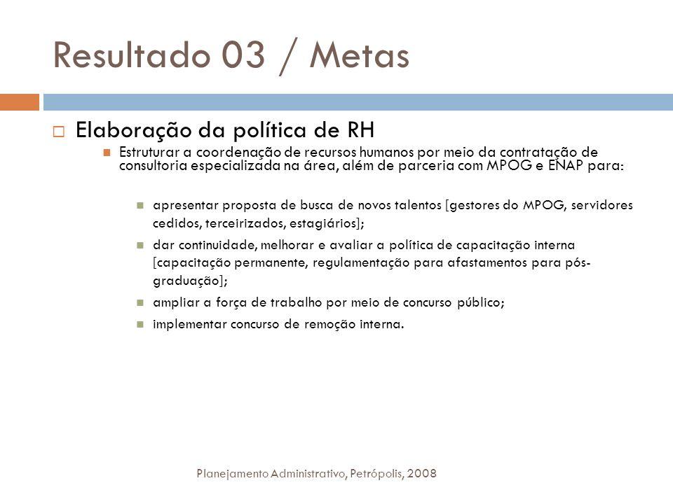 Resultado 03 / Metas Elaboração da política de RH