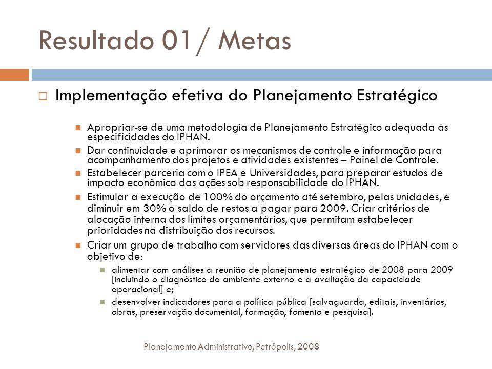 Resultado 01/ Metas Implementação efetiva do Planejamento Estratégico