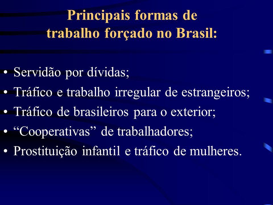 Principais formas de trabalho forçado no Brasil: