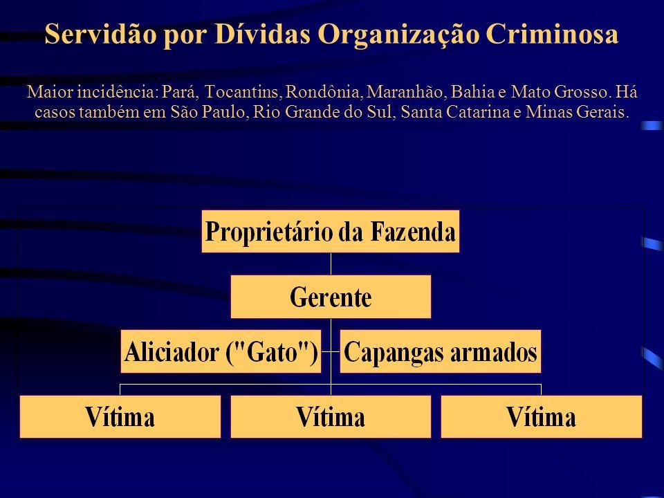 Servidão por Dívidas Organização Criminosa Maior incidência: Pará, Tocantins, Rondônia, Maranhão, Bahia e Mato Grosso.