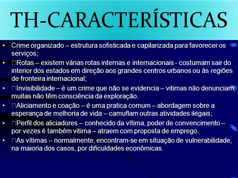 Crime organizado – estrutura sofisticada e capilarizada para favorecer os serviços;