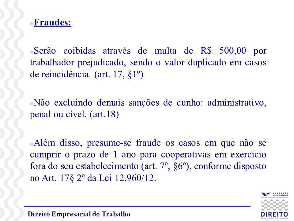 Fraudes: Serão coibidas através de multa de R$ 500,00 por trabalhador prejudicado, sendo o valor duplicado em casos de reincidência. (art. 17, §1º)