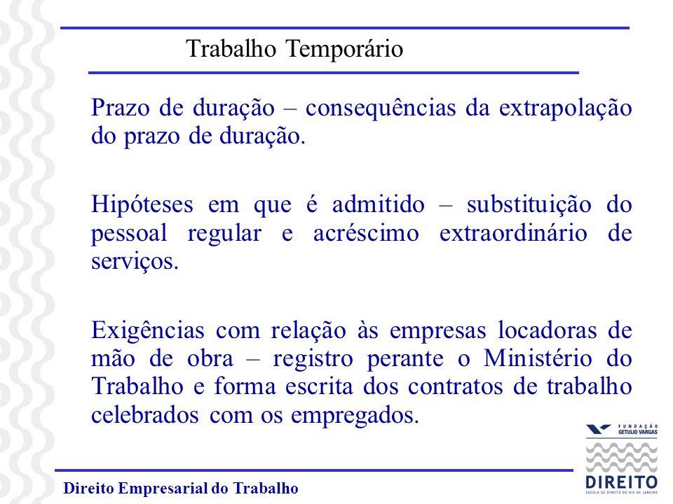 Prazo de duração – consequências da extrapolação do prazo de duração.
