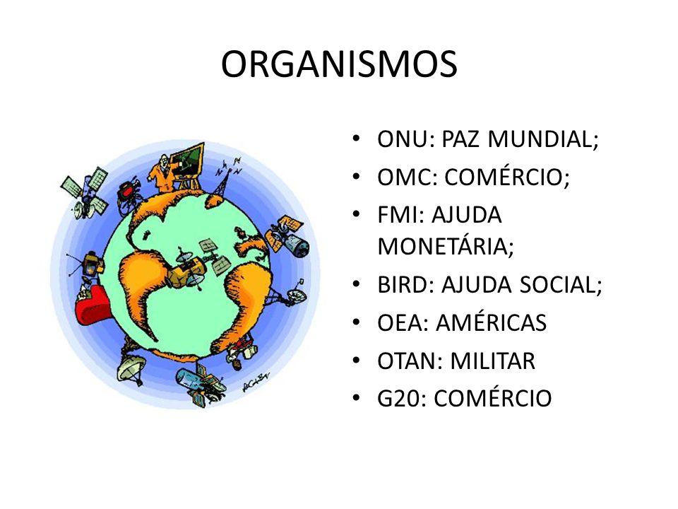 ORGANISMOS ONU: PAZ MUNDIAL; OMC: COMÉRCIO; FMI: AJUDA MONETÁRIA;