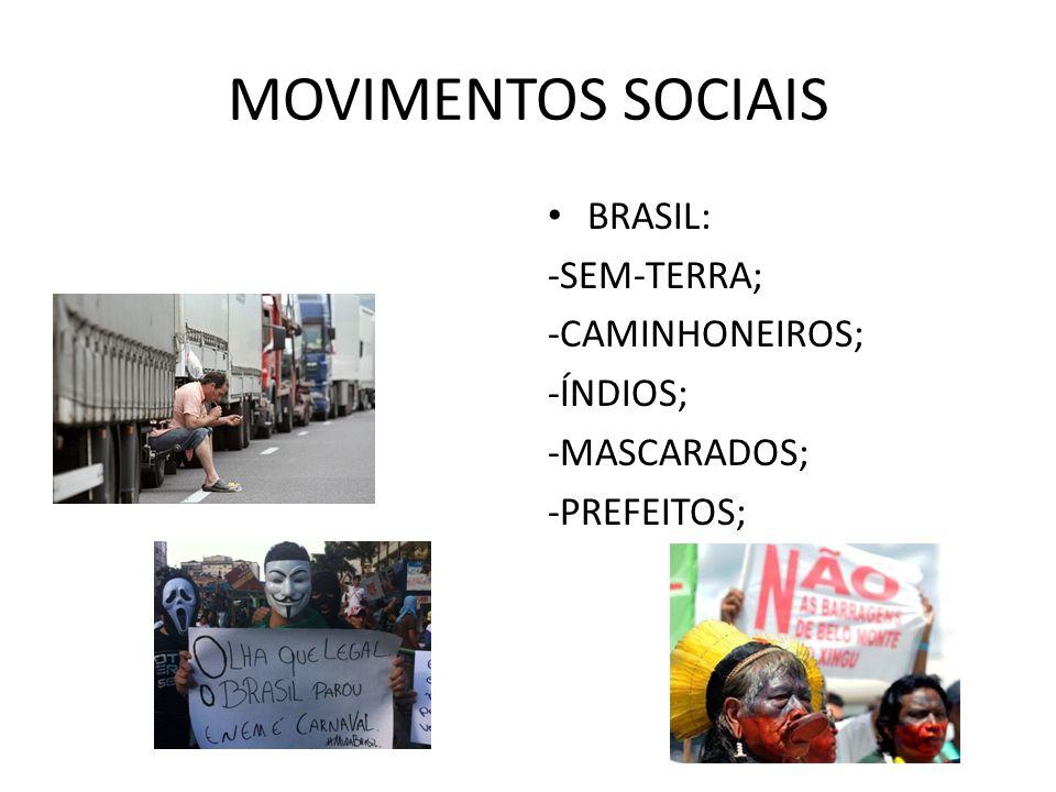 MOVIMENTOS SOCIAIS BRASIL: -SEM-TERRA; -CAMINHONEIROS; -ÍNDIOS;