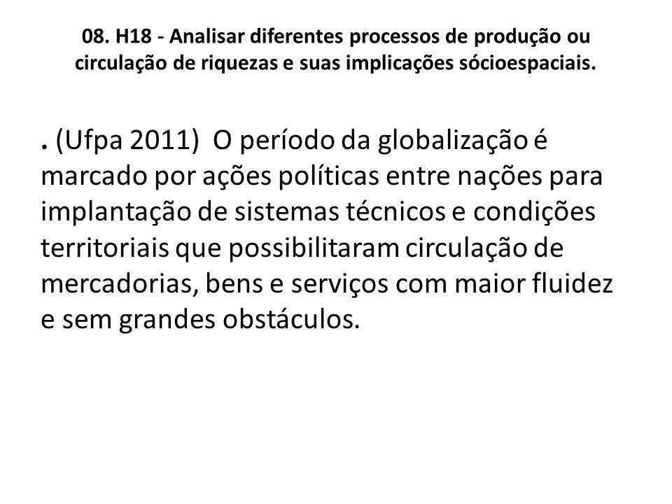 08. H18 - Analisar diferentes processos de produção ou circulação de riquezas e suas implicações sócioespaciais.