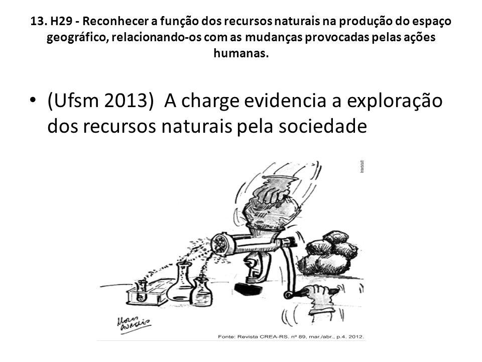 13. H29 - Reconhecer a função dos recursos naturais na produção do espaço geográfico, relacionando-os com as mudanças provocadas pelas ações humanas.